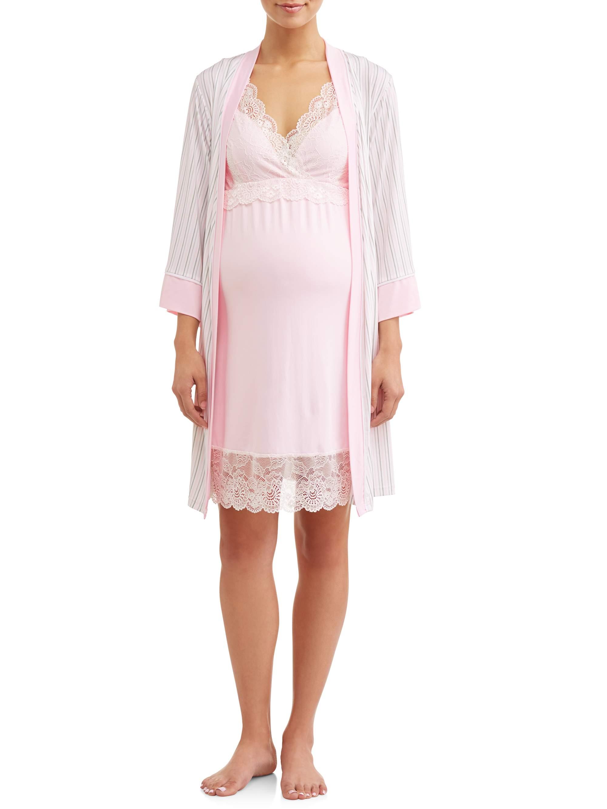 Maternity 2-Piece Nursing Cross Over Chemise and Robe Set