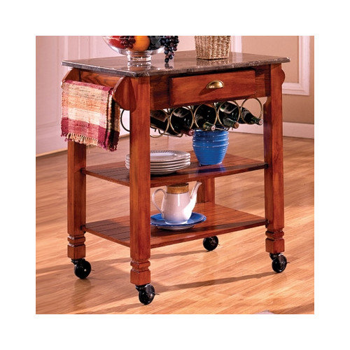 Bernards Kitchen Cart with Marble Top
