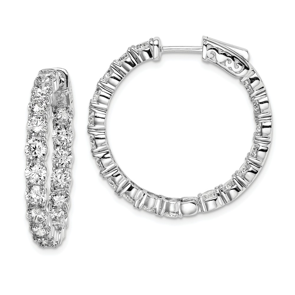 Sterling Silver Rhodium Plated with CZ 1.0IN Hinged Hoop Earrings (1IN x 1IN )