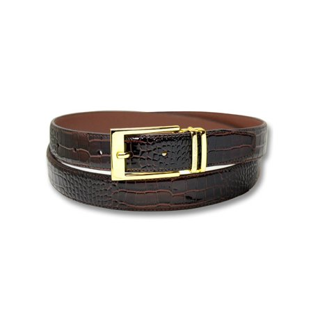 Biagio Croc Embossed DARK BROWN Men's Bonded Leather Belt Gold-Tone (Croc Embossed Bonded Leather)