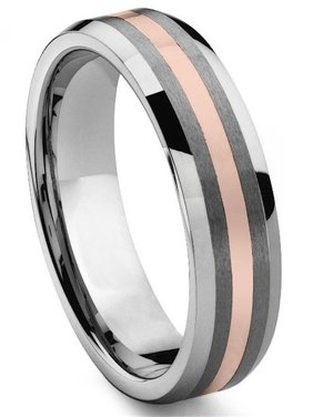 726a871e6 Product Image 6MM Tungsten Carbide 14K Rose Gold Inlay Wedding Band Ring Sz  10.0. Titanium Kay