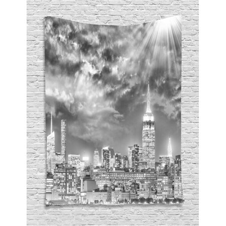 Urban Tapestry Dramatic New York City Skyline Sun Beams Clouds Skyscrapers Monochrome Landscape Wall Hanging For Bedroom Living Room Dorm Decor