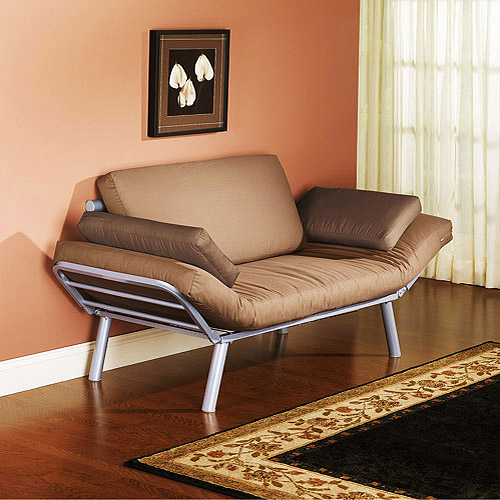 Euro Metal Arm Futon, Brownstone & Driftwood