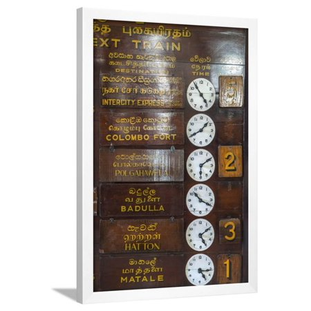 Train timetable, Kandy tain station, Sri Lanka Framed Print Wall Art By Peter Adams