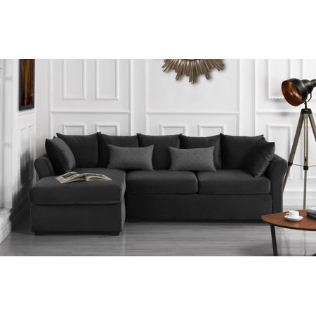 Super Classic L Shape Couch Large Velvet Sectional Sofa With Extra Wide Chaise Lounge Dark Grey Andrewgaddart Wooden Chair Designs For Living Room Andrewgaddartcom