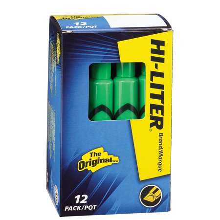 HI-LITER Desk Style, Green, Box of 12 (24020), Vibrant color stands out against white paper By HILITER From USA