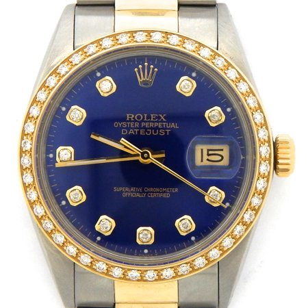 Pre-Owned Mens Rolex Two-Tone Datejust Blue Diamond 16013 (SKU #9439569DMT)