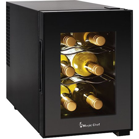 Magic Chef 6-Bottle Theromoelectric Champagne and Wine Cooler, Black