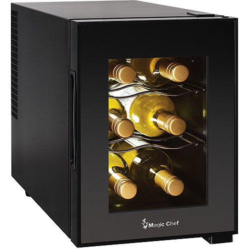 Magic Chef 6 Bottle Theromoelectric Champagne And Wine Cooler, Black