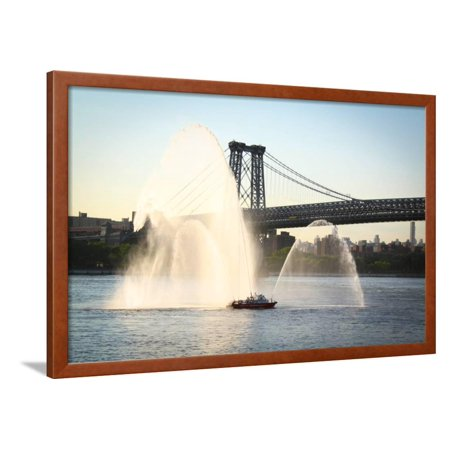 New York Fire Department Boat Spraying Water Photo Poster Framed Poster Wall Art