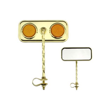Amber Twist (Rectangle Twisted Mirror Gold Amber Reflectors. Bike mirror, bicycle mirror for lowrider , beach cruiser, chopper, limo,)