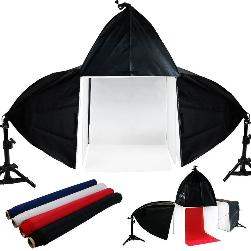 Upgraded Portable Photo Lighting Studio Shooting Tent Box Kit include White  Black Blue Red Background, Energy Saving... by