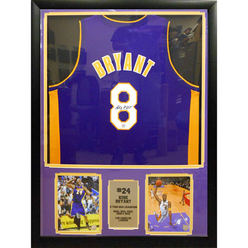 """NBA 30"""" x 34"""" Autographed Jersey Frame, Kobe Bryant Los Angeles Lakers"""