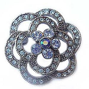 Trinket Platinum-Plated Swarovski Crystal Blue Enamel Flower Pin  Brooch by