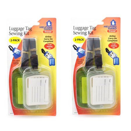 Helping Hand Set of 4 Luggage Tags Combo Sewing Kits Airline Compliant Colors Vary (2 pks) (Delta Airlines Luggage Tag)