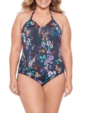 Time and Tru Women's Plus Size Rooting For You One Piece Swimsuit