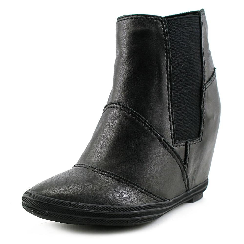 All Black Stretch Wedge Bootie Women  Open Toe Leather  W...