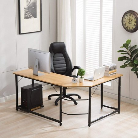 Ktaxon L-Shaped Computer Desk Corner PC Latop Table Study Office Workstation
