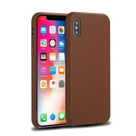 New iPhone X Case, Ultra-thin Slim fit Shell Hard Plastic Soft Touch Feeling Full Protective Anti-Scratch Case, Lightweight Matte Finish Coating for Apple iPhone X -Brown
