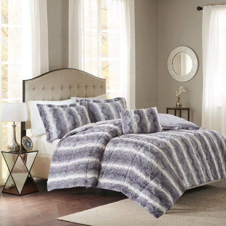 Home Essence Marselle Faux Fur Down Alternative Comforter Set, Grey, King