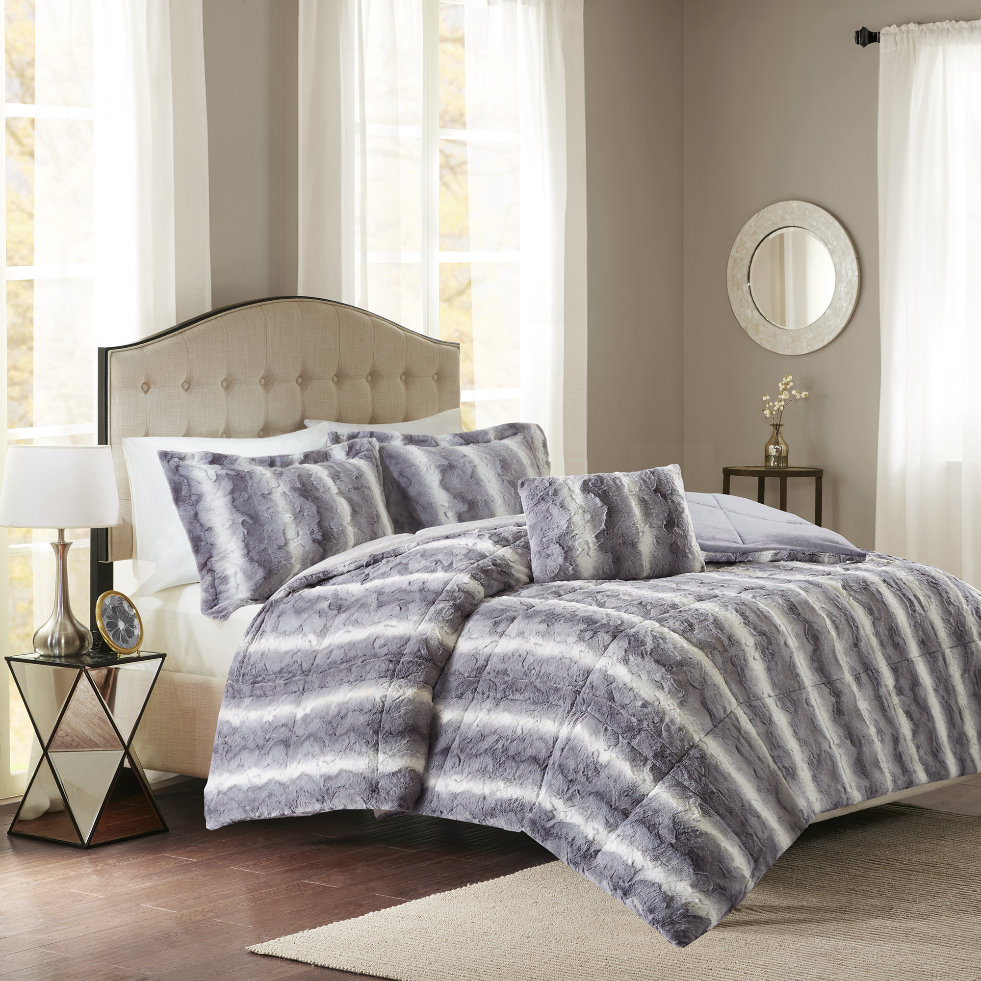 Home Essence Marselle Faux Fur Down Alternative Comforter Set