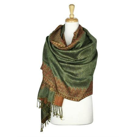 Layer Scarf - Paskmlna® Border Pattern Double Layered Reversible Woven Pashmina Shawl Scarf Wrap Stole #08