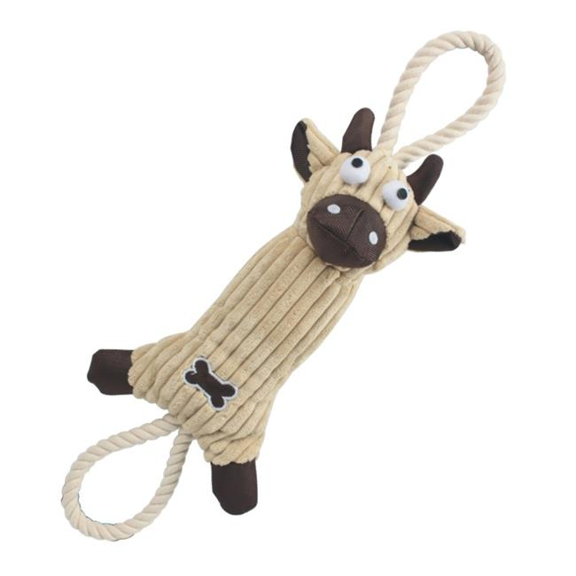 Jute And Rope Plush Cow Pet Toy - Brown, One Size