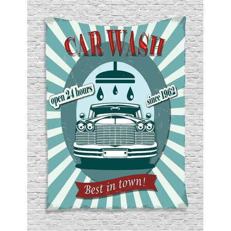 1960S Decor Wall Hanging Tapestry, Vintage Graphic Design For A Car Wash Sign Commercial With Aged Classic Retro Arsty Texture, Bedroom Living Room Dorm Accessories, By Ambesonne