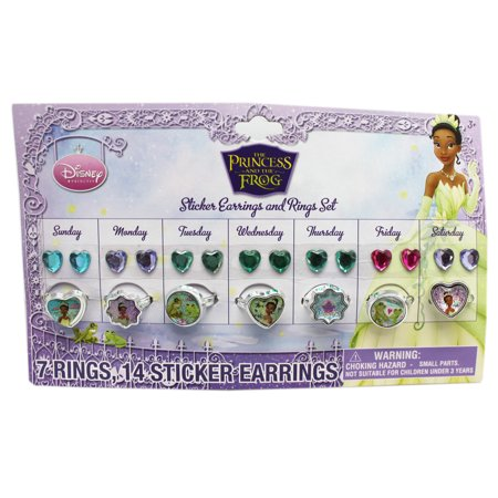 Disney's The Princess and the Frog Sticker Earrings and Ring Collection (7 Sets) - Sticker Earrings