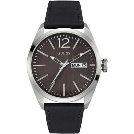 W0658G2,Men dress,Black leather Strap,Black dial,Stainless Steel Case,Three Hands,Day and Date,WR