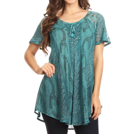 (Sakkas Amanda Flowy Summer Casual Blouse Top Stonewashed with Embroidery & Corset - Turq - One Size Regular)