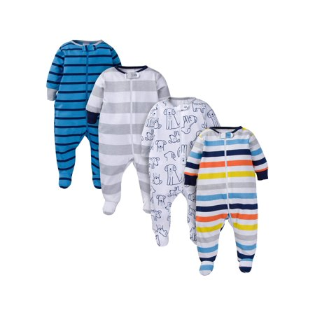 Assorted Zip Front Sleep N Play Sleepers, 4pk (Baby - Funny Onesies For Mens