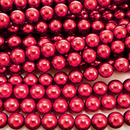 Red Pearl Snap (UnCommon Artistry Glass Pearl Beads 200pcs 4mm - Cranberry Red )