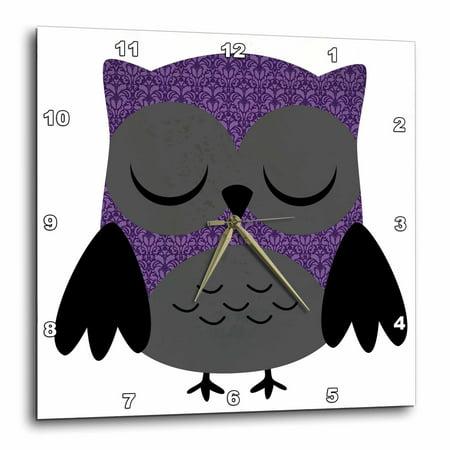 3dRose Pretty Purple Damask Owl, Wall Clock, 15 by 15-inch