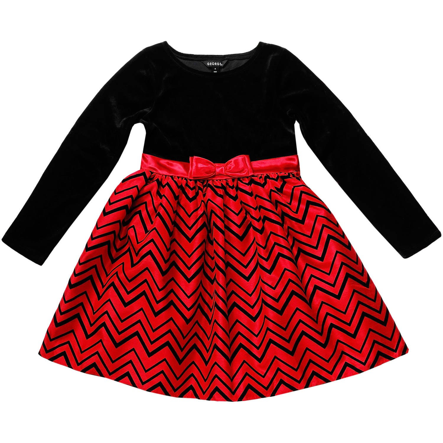 Girls Long Sleeve Chevron Flocked Holiday Dress Walmart