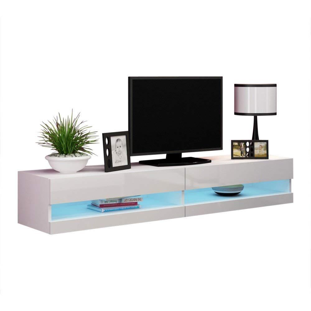 "Vigo New 180 LED Wall Mounted 71"" Floating TV Stand, White"