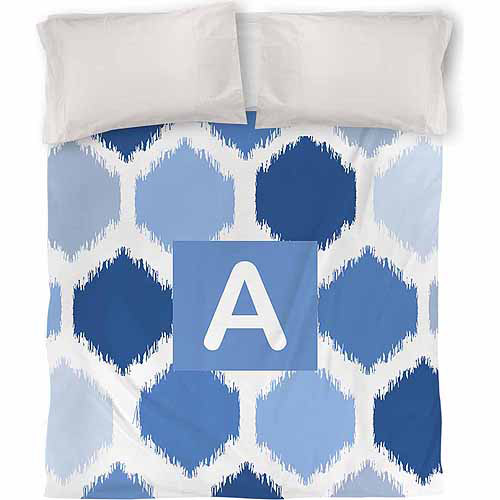 Thumbprintz Batik Monogram Duvet Cover, Blue