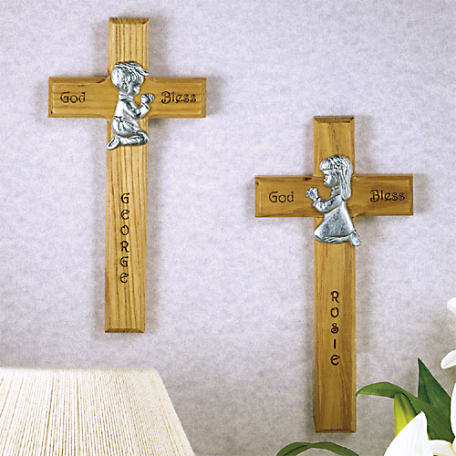 Personalized Children's Wooden Cross - Girl