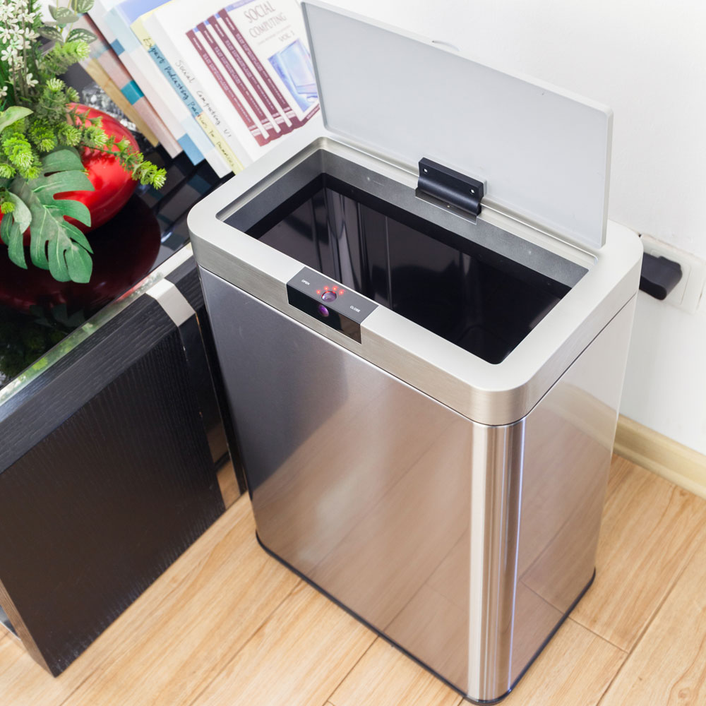 Zimtown 13 Gallon Stainless Steel Automatic Sensor Waste Basket Rubbish / Garbage Bin Kitchen Commercial Office Trash Can Containers