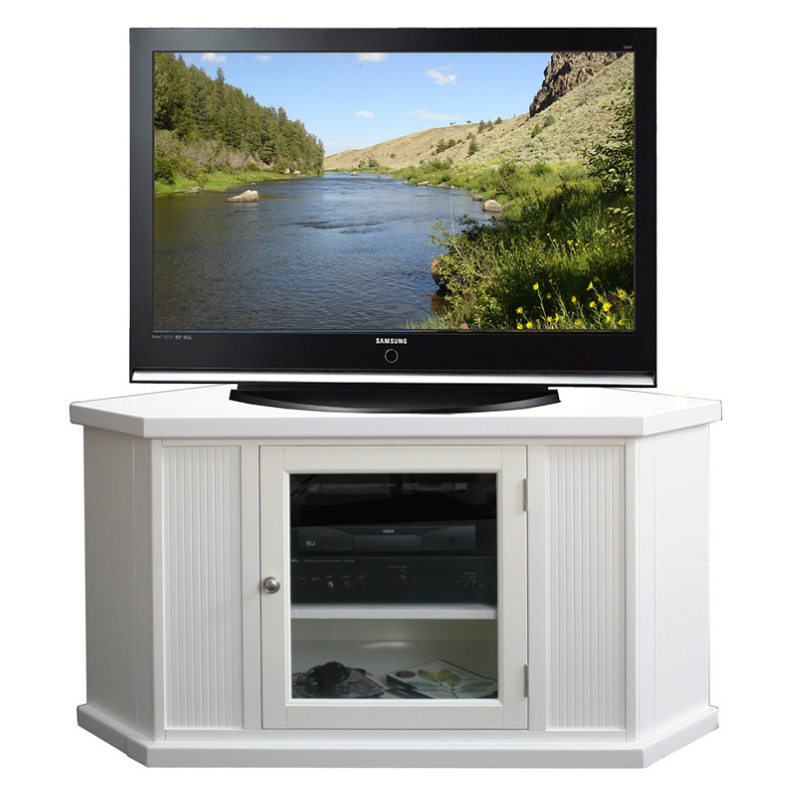 """Leick Home Riley Holliday 46"""" Corner TV Stand for TV's up to 50"""", White"""