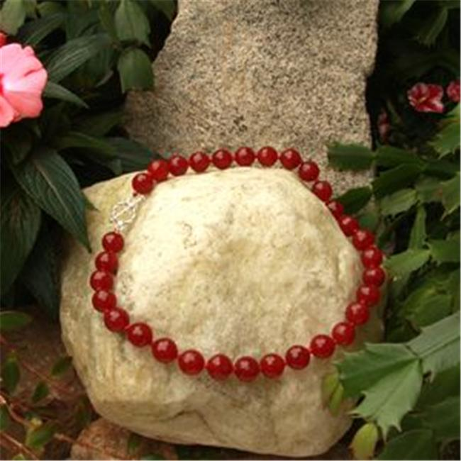 Betty Rocks BNKDRJ201140018T3 18 inch 14mm Round Dyed Red Jade Necklace