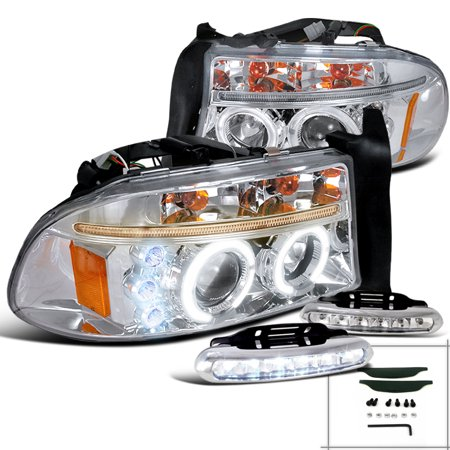 Spec-D Tuning For 1998-2003 Dodge Dakota Chrome Dual Halo Projector Headlights + Led Bumper Fog Lamps (Left+Right) 1998 1999 2000 2001 2002 2003