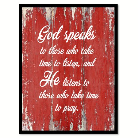 God Speaks To Those Who Take Time To Listen & He Listens To Those Wh Take Time To Pray Quote Saying Red Canvas Print Picture Frame Home Decor Wall Art Gift Ideas 7