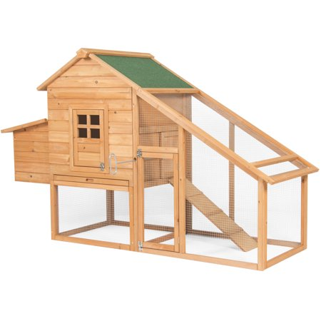 - Best Choice Products 75in Backyard Wooden Chicken Coop Poultry Nest Box Hen House Cage - Natural/Green