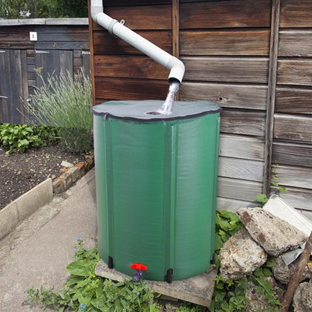 Ktaxon Rain Barrel 66 Gallon Portable Rain Barrel Water Collector (Contemporary Rail)