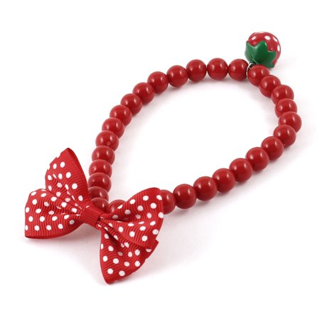 Red Plastic Beads Strawberry Jingle Bell Bowtie Decor Cat Dog Collar Necklace