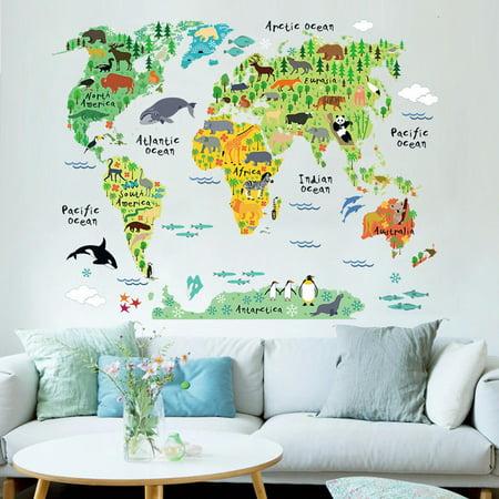 Colorful World map kids room office Wall sticker wallpaper art decals Nursery