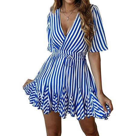 Women's Sexy Deep V Neck Short Sleeve Striped Wrap Ruffle Hem Pleated Mini Dress with Belt Blue S