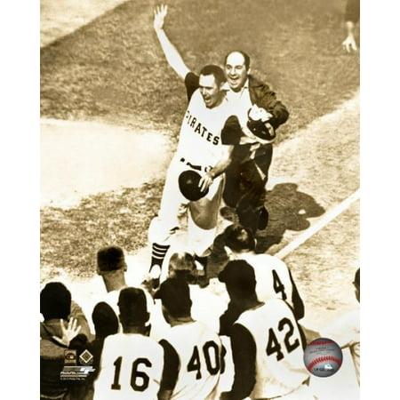 Bill Mazeroski Game Winning Home Run Game 7 of the 1960 World Series sepia Photo (1960 World Series Game 7 Box Score)