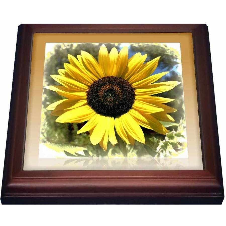 3dRose Yellow Sunflower Floral- Flowers , Trivet with Ceramic Tile, 8 by 8-inch by 3dRose